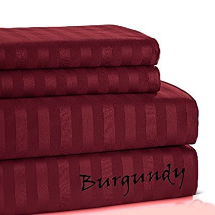 KM Linen 1500 Thread Count - Heaviest Superb Egyptian Cotton Made By Queen Size (Set of 4 PCs) Sheet Set Stripe Color's (Burgundy) Fits 20