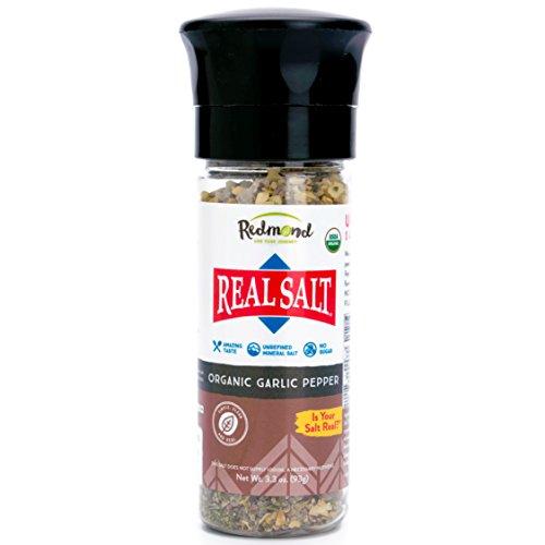 Redmond Real Sea Salt - Natural Unrefined Organic Gluten Free, Coarse Salt with Coarse Grinder (Garlic Pepper) (What's The Best Way To Store Garlic)