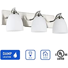 IN HOME 3-Light VANITY/BATHROOM FIXTURE VF42, Satin Nickel Finish with Opal Glass Shade, UL listed
