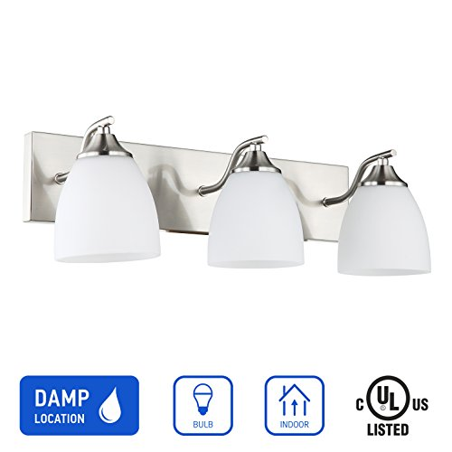 IN HOME 3-Light VANITY/BATHROOM FIXTURE VF42, Satin Nickel Finish with Opal Glass Shade, UL listed (Bathroom Lighting Fixtures Fixture)
