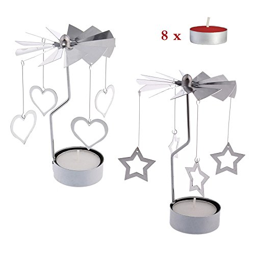 - RETON 2 Pcs Metal Rotating Tea Light Candle Holder Silver DIY Spinning Tealight Holder for Home Festival Decoration+8pcs Tealight Candles (Heart&Star)