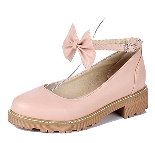 AllhqFashion Womens Microfiber Low-Heels Buckle Solid Pumps-Shoes Pink F6woW