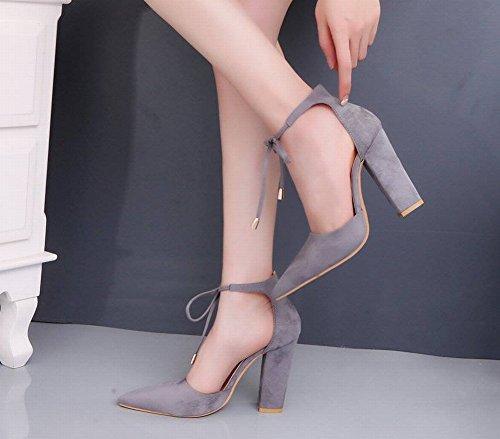 con rojo Vino Gran Tacón de Zapatos 40 Temperamento Tosco Mujer Zapatos de de con Tamaño de de Baotou Zapatos Alto Gamuza HUw1xqAw