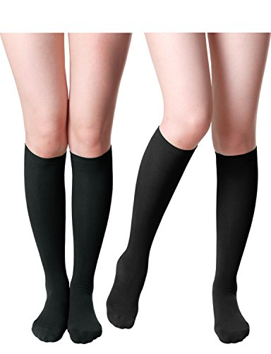 HASLRA Women's Knee High Socks 2 Pairs (BLACK)