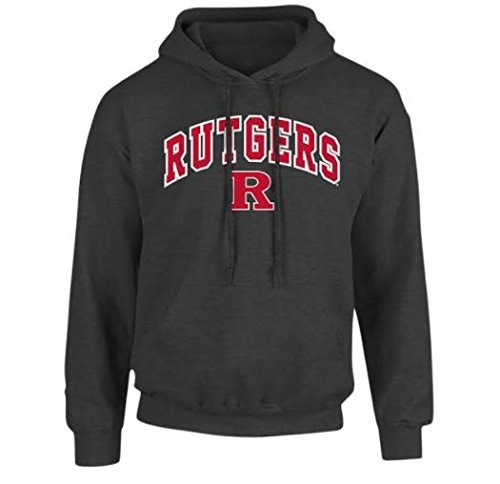 Rutgers Scarlet Knights Hooded Sweatshirt Arch Charcoal - XL