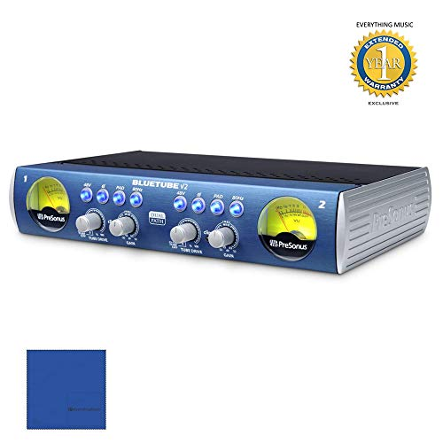 PreSonus BlueTube DP V2 2-channel Mic/Instrument Tube Preamp with Microfiber and 1 Year Everything Music Extended ()
