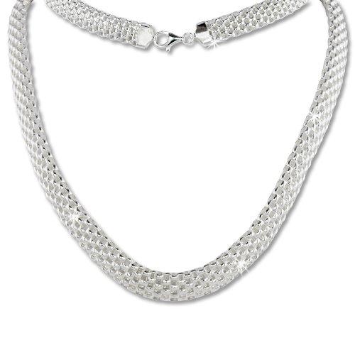 SilberDream Halskette aus 925er Sterling Silber - Collier Geflecht für Damen - Länge 45cm - SDK22045J
