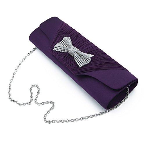 Pleated Bow Clutch - Elegant Pleated Satin Flap Rhinestones Bow Clutch Evening Bag, Purple
