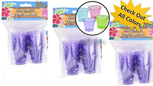 Shooter Cups - Plastic Shot Glasses Purple - 72 Mini Cups Purple Party Cups (3 packs) - Plastic Shot Cups - Neon Shot -