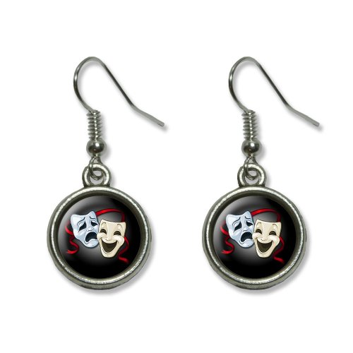 Drama Comedy Tragedy Masks - Acting Theatre Theater Novelty Dangling Dangle Drop Charm Earrings (Comedy Tragedy Drama Masks)