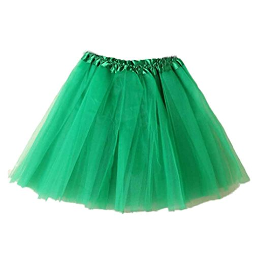Aurorax [Lace Mini Skirt ] Women Girls Classic 3 Layered Tulle Tutu Skirt,[Vintage Petticoat Elastic Skirt 1950s Underskirt ] (Green, Waist:19.7