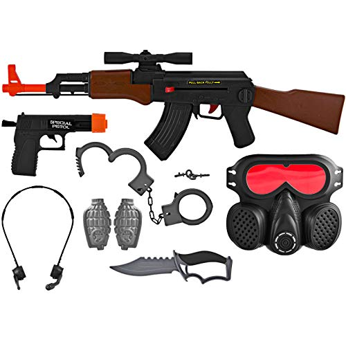 AJ Toys & Games Kid's Pretend Play AK-47 SWAT Special Force Commando Kit Set, Friction Toy Gun Role Play -