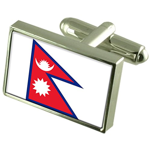 Nepal Sterling Silver Flag Cufflinks in Engraved Personalised Box by Select Gifts