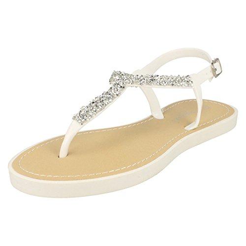 Damen Savannah Zehensteg Sandalen mit Schnallenverschluss Weiß