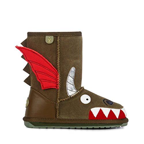 EMU Australia Kids Dragon Deluxe Wool Boots Size 9 Khaki