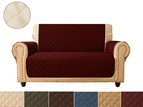 Sofa Cover, Reversible Quilted Furniture Protector, Ideal Loveseat Slipcovers for Pets & Children, Water Resistant, Will Keep your Couch Stain, Dirt & Scratches-Free | Curve Ramp Burgundy, Premium Q (Slipcover Burgundy)