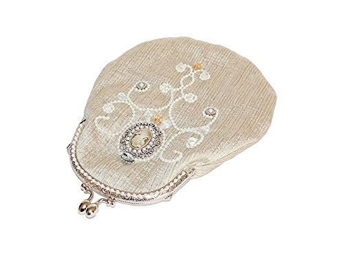 Bead Embroidered Evening Handbag with Cameo on Removable Chain Strap. Handmade Beige White Shoulder Bag Clutch Purse. Free shipping USA & Canada -