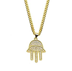 HongBoom Hip Hop Cuban Link Chain 14K Gold Plated CZ Fully Iced-Out Hamsa Evil Hand Necklace (Gold)