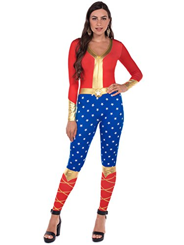 Tipsy Elves Women's Patriotic Super Hero Halloween Costume Body Suit: Medium Blue -