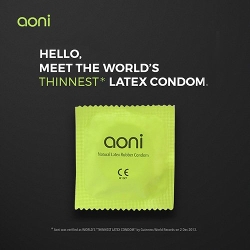 Aoni Condoms - XL Ultrathin 001 12 PCS - Premium 001 Series - Water Based Lubricant