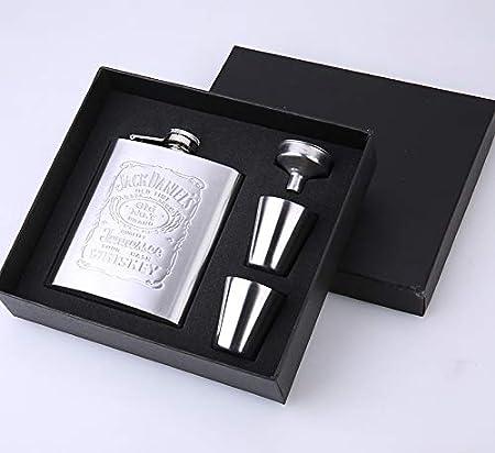 Xiaobing Frasco de Cadera portátil de Acero Inoxidable 7 oz Frasco pequeño de Cadera Embudo de Copa de Vino Gratis Botella de Vino -D77-7OZ