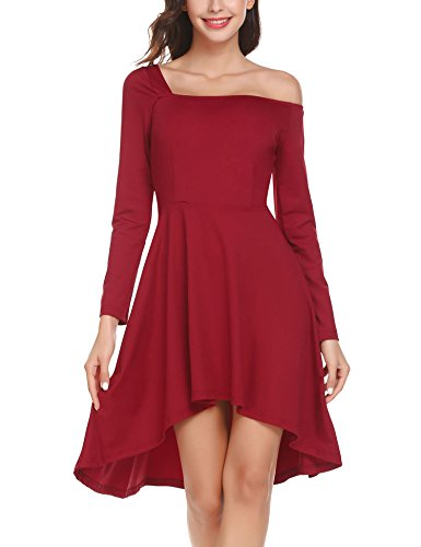 HOTOUCH Women Strapless Asymmetric Neckline Elegant Casual Long Sleeve Sexy Solid Mini Dress(Wine Red XL) - Strapless Neckline Mini