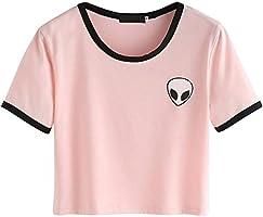 Froomer Women Short Sleeves Crop T-Shirt Top Aliens Printed Short Tops (Asian L, Pink)