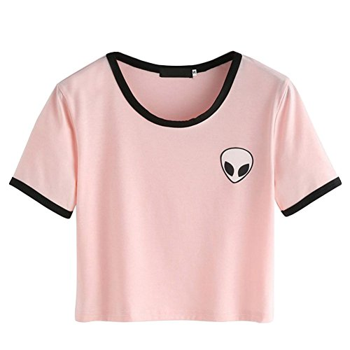abfac703cc0ef ROPALIA Women Short Sleeve Tee Loose Print Blouse Casual Crop Tops at  Amazon Women s Clothing store