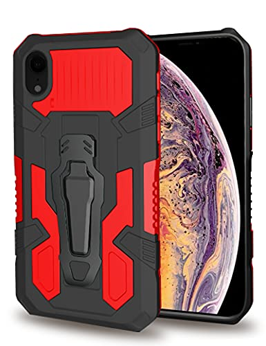 HAMGEEN Compatible for iPhone XR Case Kickstand Case with Belt Clip Shockproof Dustproof Hard PC + Soft Silicone TPU Dual Layer Protective Cover Non-Slip Bumper Phone Case for iPhone Xr Red