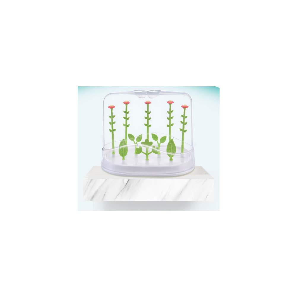 Pacificador del beb/é Biber/ón secado rack forma de la flor del pez/ón Secadora rack pezones Accesorios titular de la botella secadora para ahorrar espacio con cubierta a prueba de polvo verde