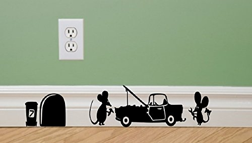 Funny Car Body (Mechanics Car garage bodyshop funny wall decal Mouse sticker Mice mouse funny wall decal funny wall kids boys)
