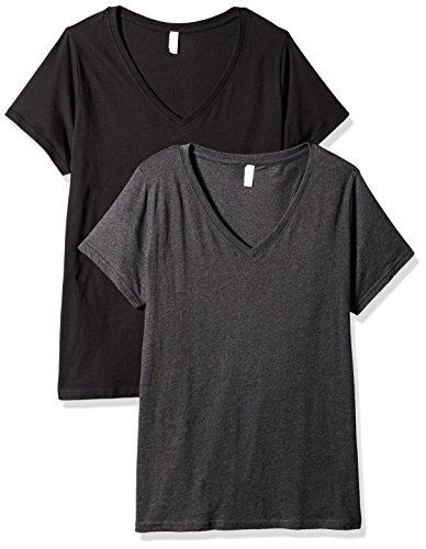 Plus Size Double V-neck Tee - Clementine Apparel Women's Ladies Curvy Plus Size V-Neck T-Shirt (2 Pack), Black/Smoke, 4 (26-28)
