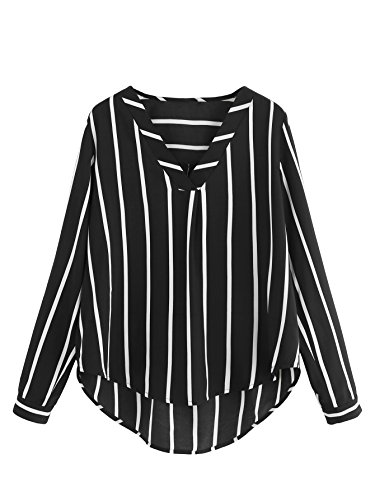 Polka Dot Chiffon Blouse - Floerns Women's V Neck Long Sleeve Striped Chiffon Blouse Top Black M