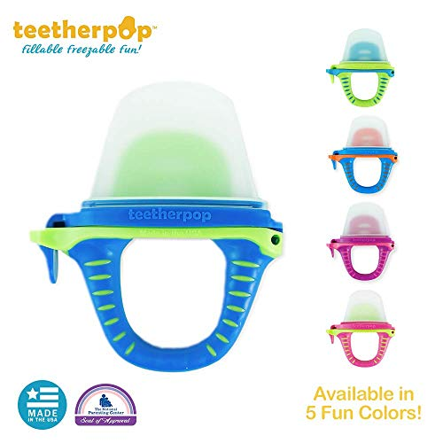 Fillable, Freezable Teethers for Purees, Smoothies, Juices and More (Baby Teether is USA Made and BPA-Free)