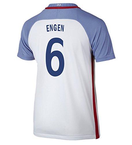 (Nike Engen #6 USA Home Soccer Jersey Rio 2016 Olympics Youth. (YXL) White)