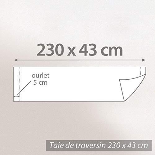Linnea Taie de traversin uni 230X43 cm 100/% Coton Alto Garance