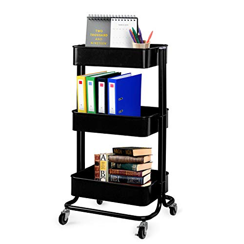 Lagute Solide 3-Tier Utility Cart with Wheels, Heavy Duty Metal Mesh Rolling Mobile Storage Organizer for Office Home Kitchen Bedroom (Black), 3-Tier Black