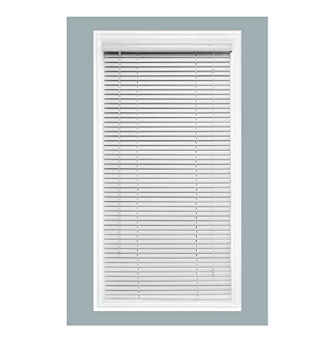 TailorView | Custom-Made Aluminum Horizontal Venetian Window Mini Blind Shade | W: 36″ to 39 7/8″ x H: 78″ to 96″ | 1 Inch Slats | Inside or Outside Mount | White Gloss