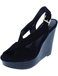 Womens Becky Suede Peep-Toe Wedge Sandals