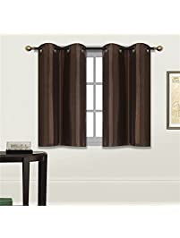 elegant home 2 panels tiers grommets small window treatment curtain faux silk insulated blackout drape short