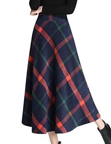 (Tanming Women's Winter Warm Elastic Waist Wool Plaid A-Line Pleated Long Skirt (Dark Blue, Small))