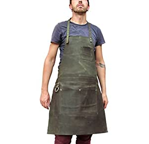 One Leaf Leather Apron (Chef, Butcher, Blacksmith, Carpenter) (Green Leather)