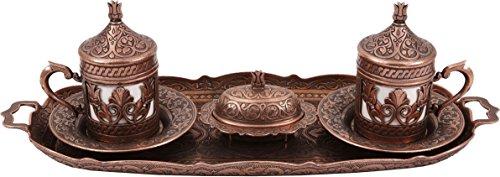 Handcraftideas Traditional Design Brass Cast Turkish Armenian Arabic Greek Coffee Set, Coffee Cup, Espresso Set, Tea Set for Two-(CS2-206)