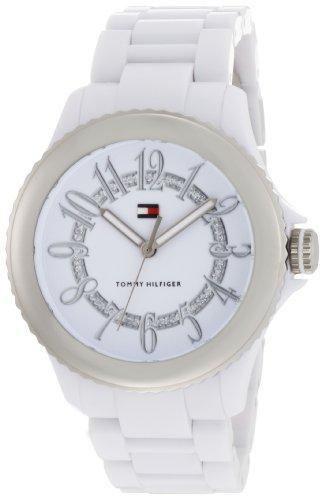 Tommy Hilfiger Women's 1780950 White Plastic Bracelet Crystal Dial Sport Watch
