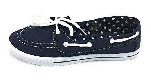 Boat Toe Tennis Blue EASY21 Navy Slip Flat Shoe up Berry Lace Sneaker Round Comfy Canvas On xqPwnr8qfO