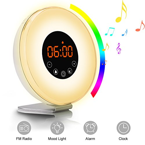 (Sunrise Alarm Clock, TEKITSFUN Digital LED Clock with 7 Color Switch and FM Radio for Bedrooms,Multiple Nature Sounds Sunset Simulator & Touch Control - with Snooze Function for Adults Kids)