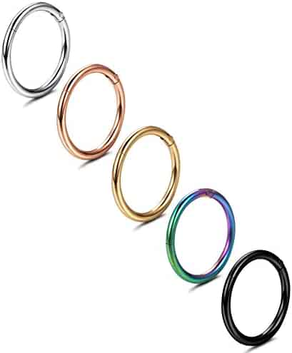 Jstyle 5 Pcs a Set 316L Stainless Steel Septum Piercing Nose Hoop Clicker Ring 16G