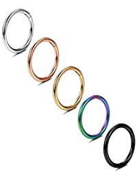 Jstyle 5 Pcs a Set 316L Stainless Steel Septum Piercing Nose Hoop Clicker Ring Hypoallergenic 16G