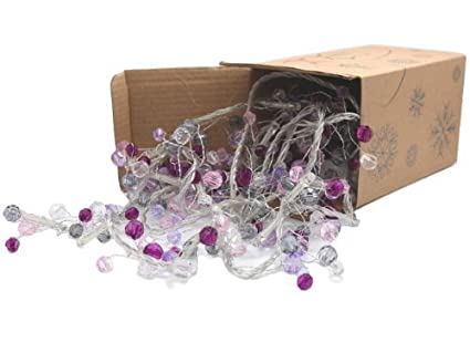 battery operated cool white led string lights with purple beads christmas lights party lights