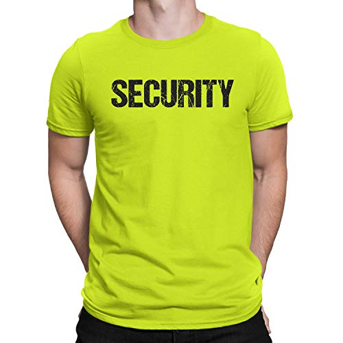 NYC FACTORY Cool Neon Security T-Shirt Mens Tee Staff Event Crew Shirt (Large)